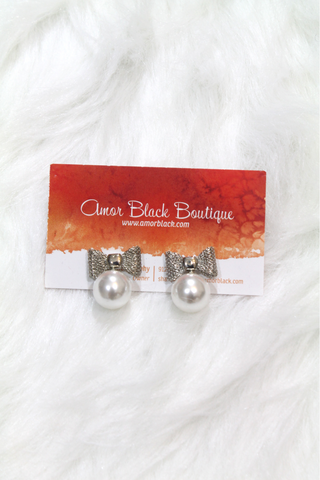 Bow Shape Pearl Earrings - Silver