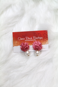 Flower Pearl Drop Earrings - Pink