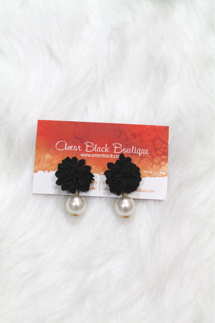 Flower Pearl Drop Earrings - Black - Amor Black Boutique