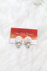 Flower Pearl Drop Earrings - White