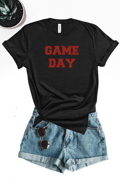 Game Day Varsity Graphic Tee - Black - Amor Black Boutique