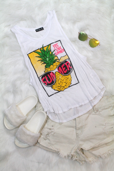 Yes I Love Summer Top - White - Amor Black Boutique