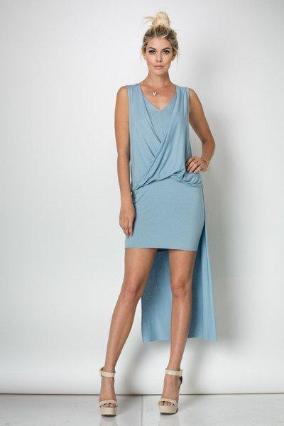 Load image into Gallery viewer, Julienne Draped Dress - Prada Blue - Amor Black Boutique