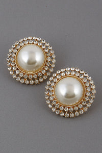 Hey There, Pearl Rhinestone Earrings - Gold
