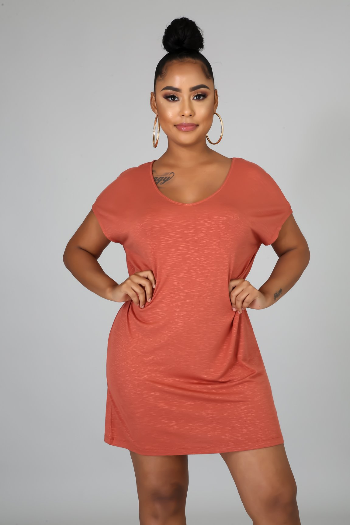 So Comfy Tee Dress - Rust