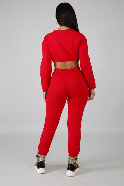 Not Givin Up Set - Red - Amor Black Boutique