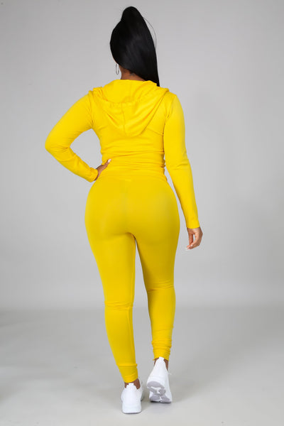 You Can Do It Legging Set - Yellow - Amor Black Boutique