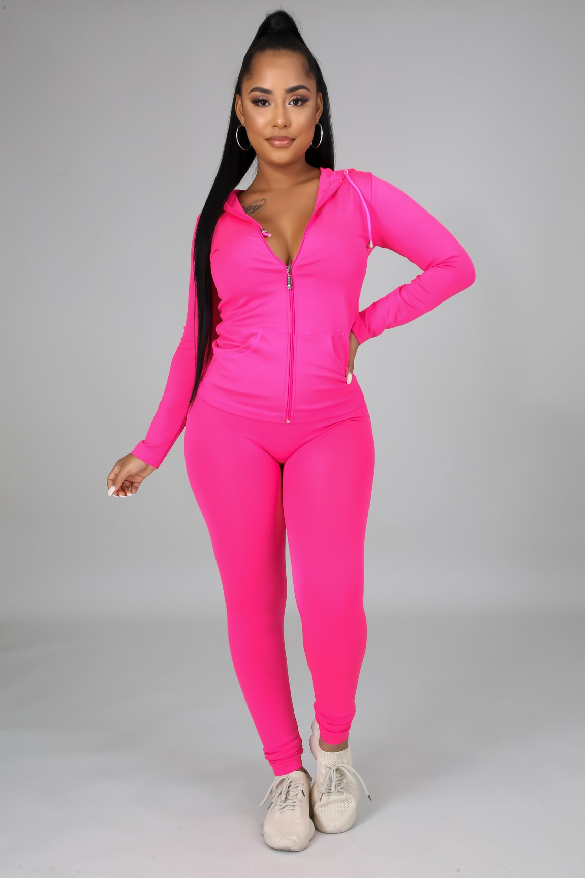 You Can Do It Legging Set - Fuchsia