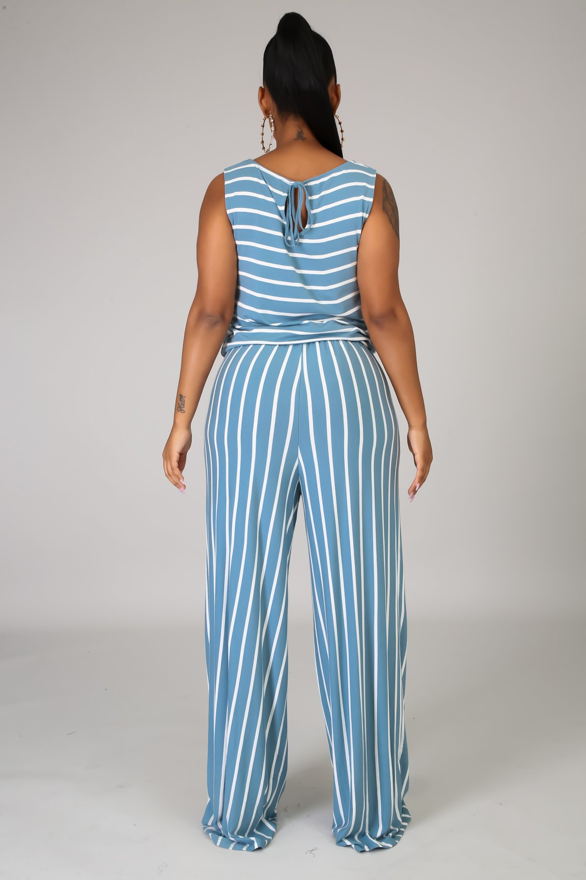 Go Crazy Stripe Jumpsuit - Blue