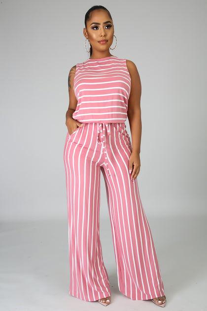 Go Crazy Stripe Jumpsuit - Rose - Amor Black Boutique