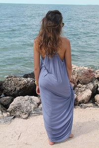 Jenna Maxi Dress - Chambray Blue - Amor Black Boutique