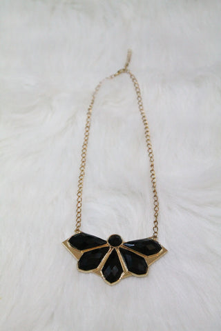 Design Gem Chain Necklace - Black
