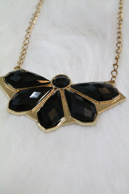 Design Gem Chain Necklace - Black - Amor Black Boutique