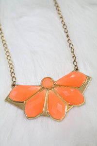Design Gem Chain Necklace - Orange