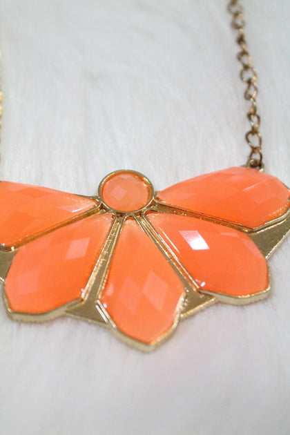 Design Gem Chain Necklace - Orange - Amor Black Boutique