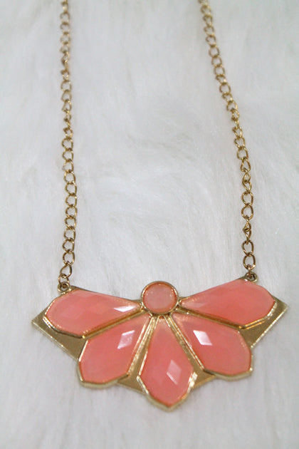 Design Gem Chain Necklace - Pink - Amor Black Boutique