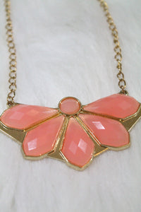 Design Gem Chain Necklace - Pink