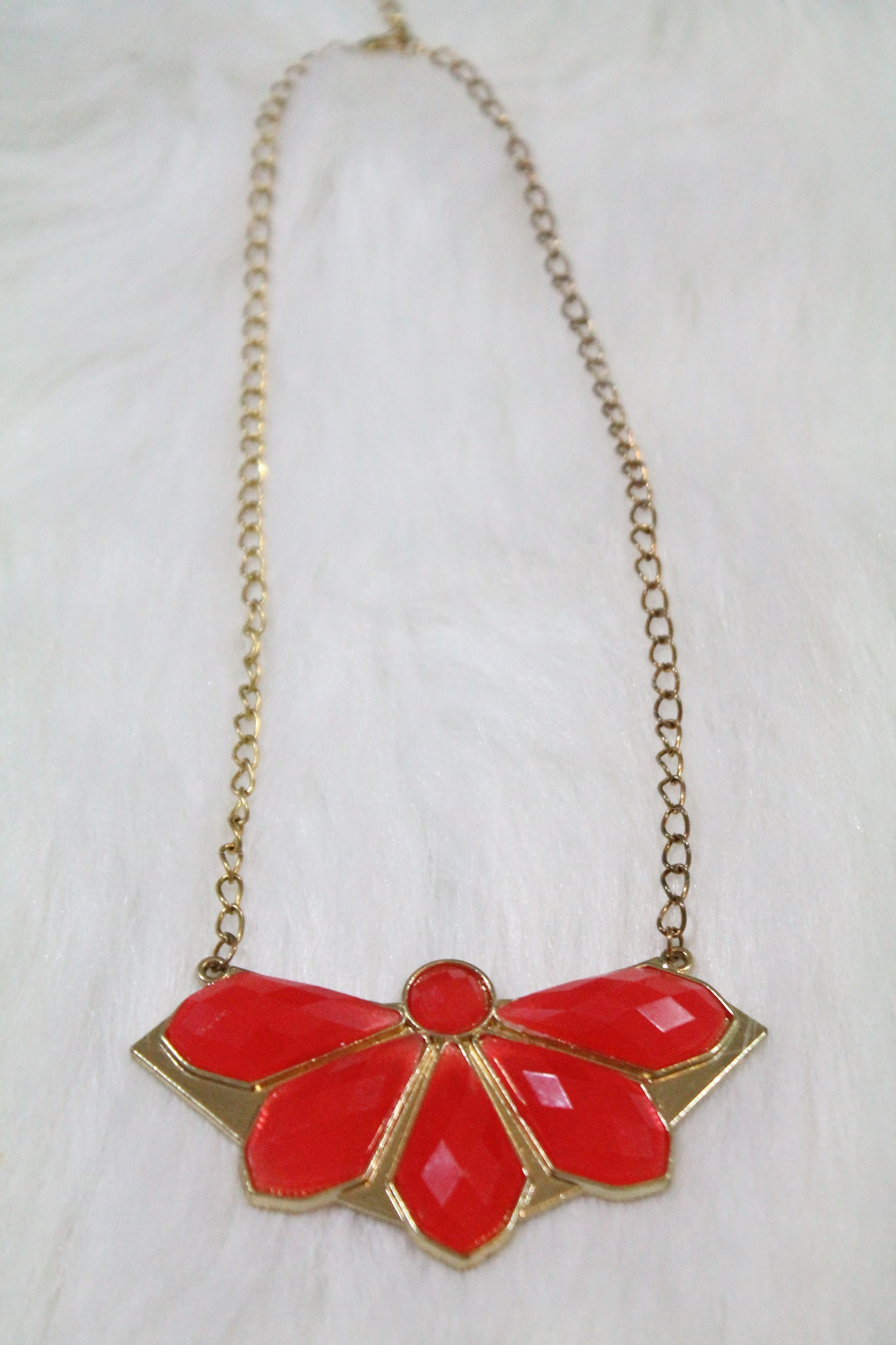 Design Gem Chain Necklace - Red