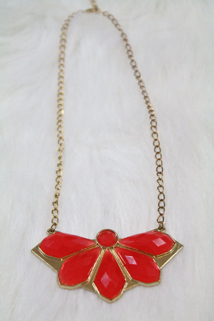 Design Gem Chain Necklace - Red - Amor Black Boutique