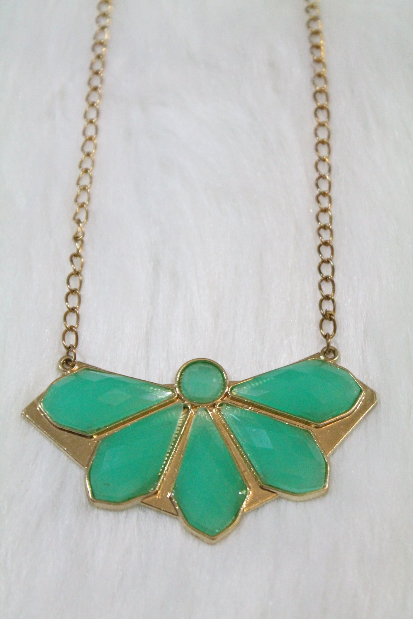 Design Gem Chain Necklace - Green