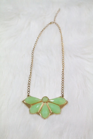 Design Gem Chain Necklace - Light Green - Amor Black Boutique