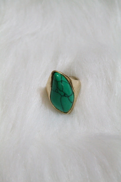Gem Design Ring - Turquoise - Amor Black Boutique