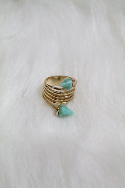 Stone Tip Coil Ring - Turquoise - Amor Black Boutique