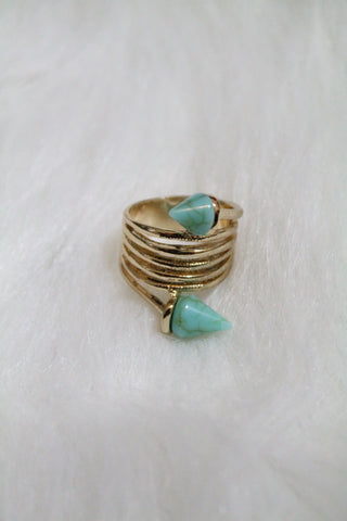 Stone Tip Coil Ring - Turquoise