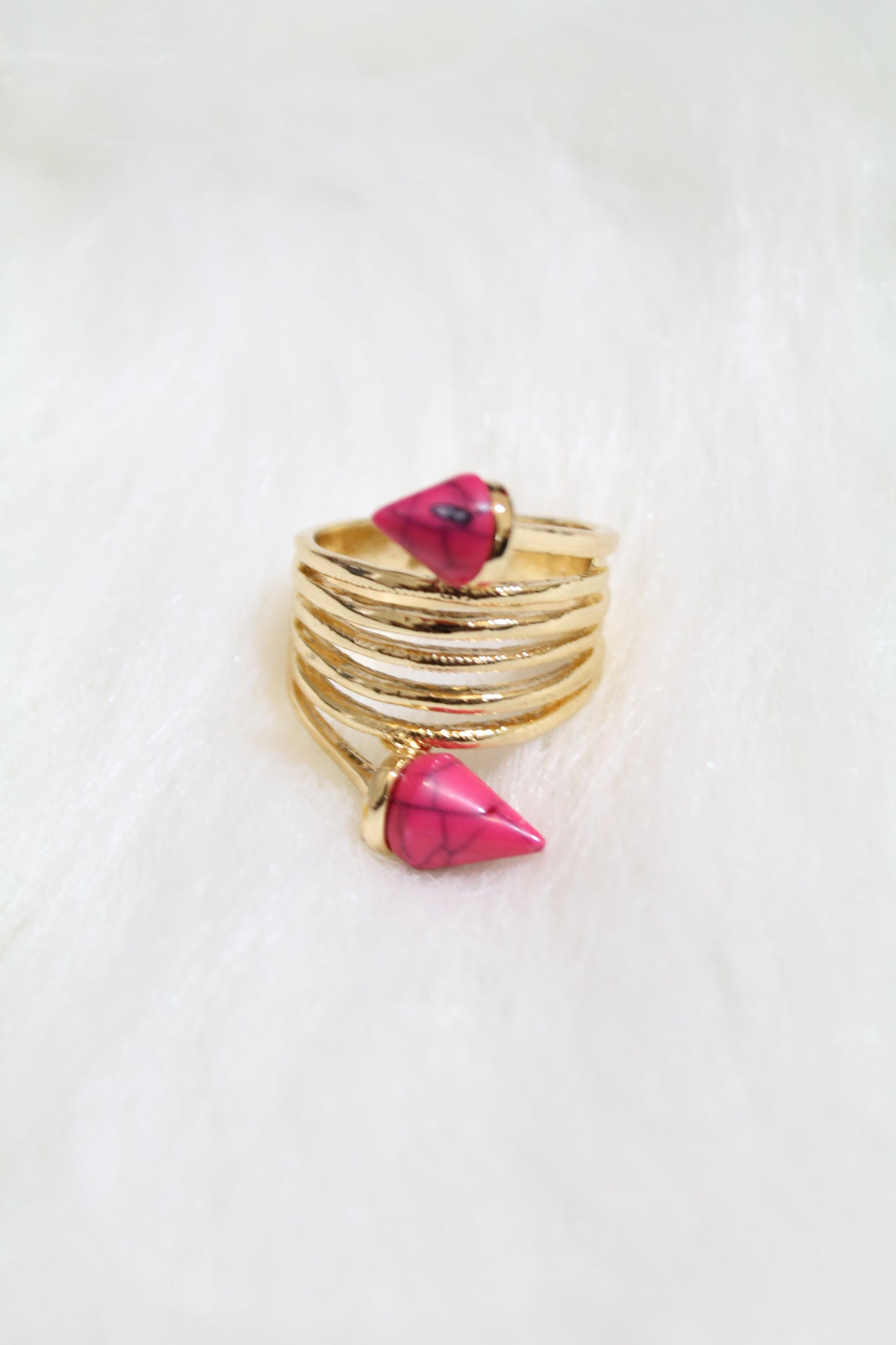 Stone Tip Coil Ring - Pink - Amor Black Boutique