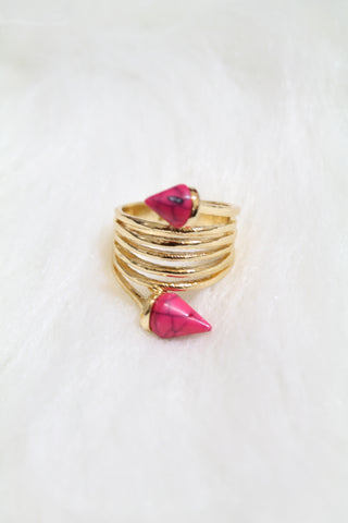 Stone Tip Coil Ring - Pink