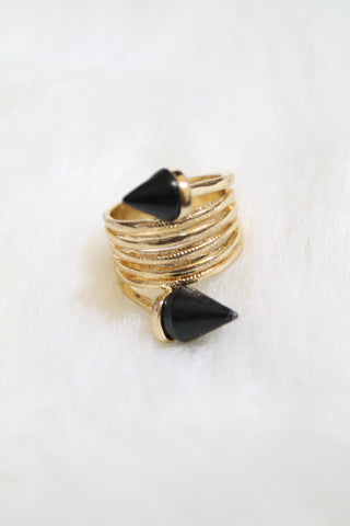 Stone Tip Coil Ring - Black - Amor Black Boutique