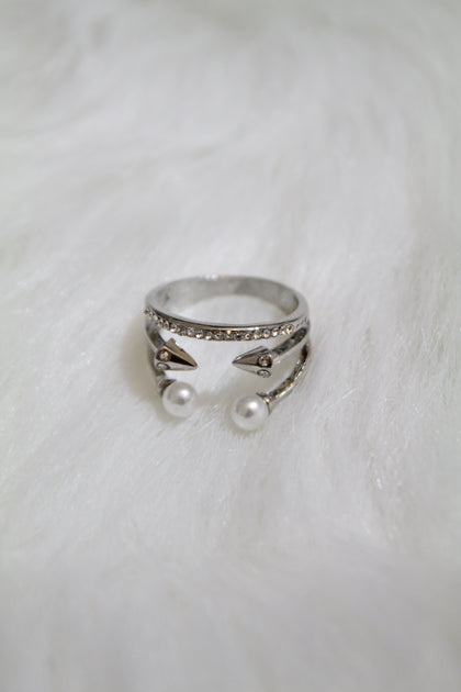 Multi Stone & Double Pearl Ring - Silver - Amor Black Boutique