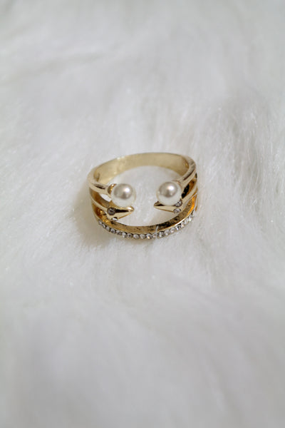 Multi Stone & Double Pearl Ring - Gold - Amor Black Boutique