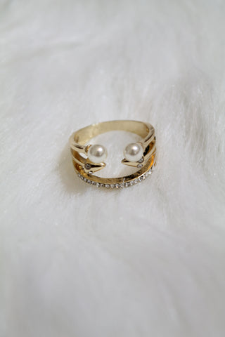 Multi Stone & Double Pearl Ring - Gold