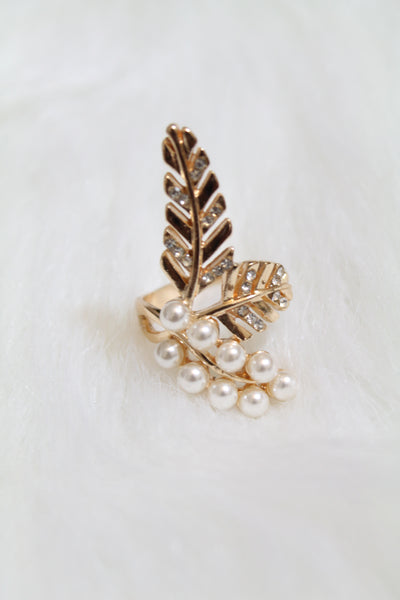 Leaf Multi Stone & Pearl Ring - Gold