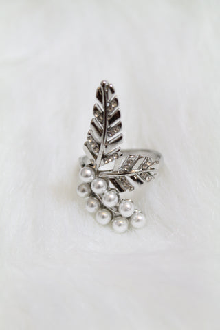 Leaf Multi Stone & Pearl Ring - Silver