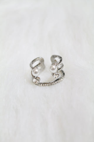Multi Stone & Double Pearl Cuff Ring - Silver