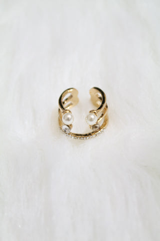 Multi Stone & Double Pearl Cuff Ring - Gold