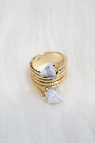 Stone Tip Coil Ring - White