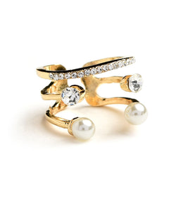 Multi Stone & Double Pearl Cuff Ring - Ring
