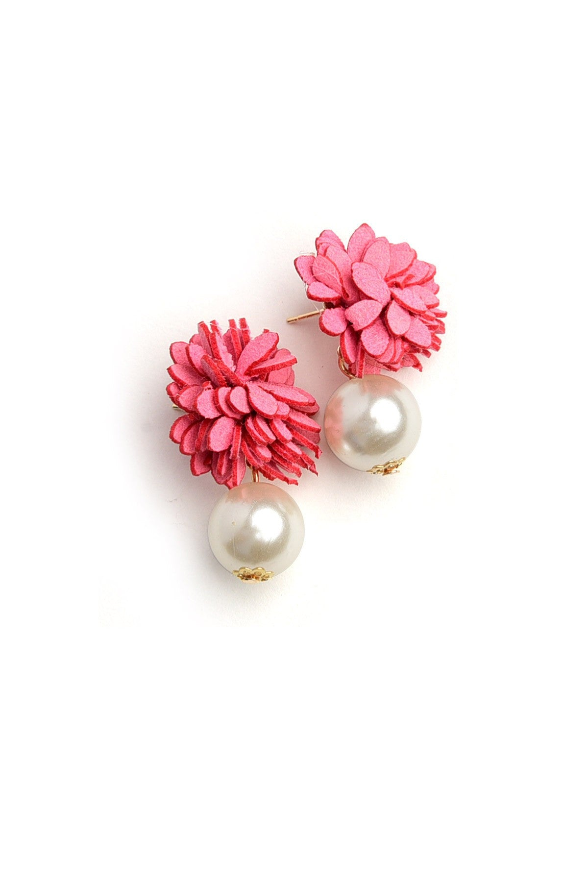 Load image into Gallery viewer, Flower Pearl Drop Earrings - Pink - Amor Black Boutique