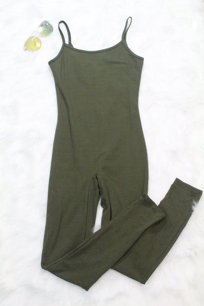 Looking For A Reaction Jumpsuit - Olive - Amor Black Boutique