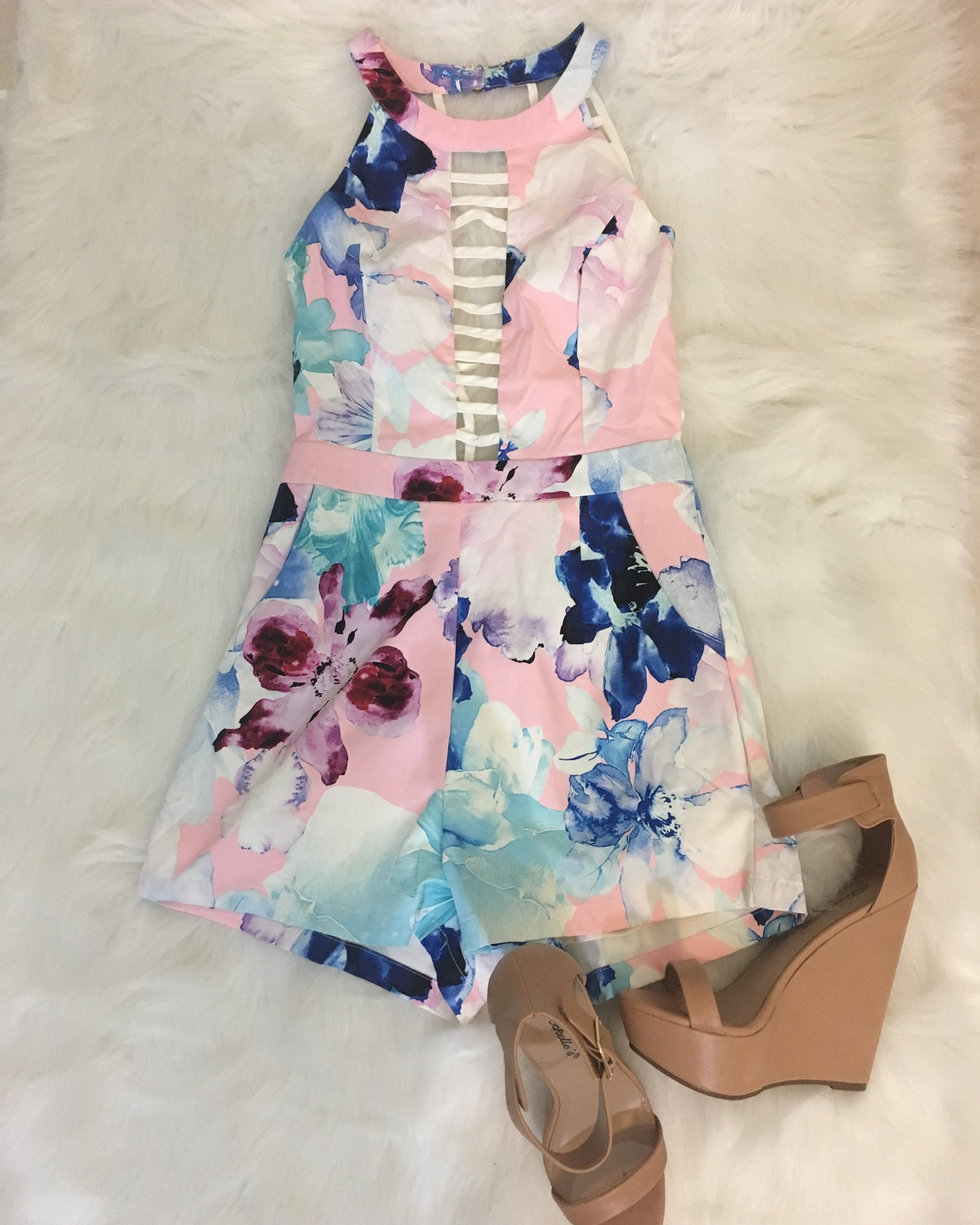All Your Attention Floral Romper - Pink