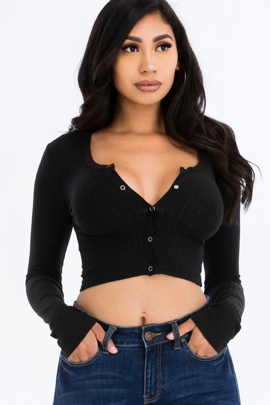 Essential Love Ribbed Crop Top - Black