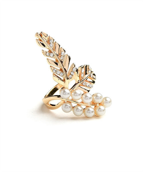 Load image into Gallery viewer, Leaf Multi Stone & Pearl Ring - Gold - Amor Black Boutique