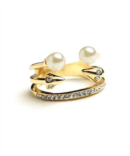 Multi Stone & Double Pearl Ring - Ring
