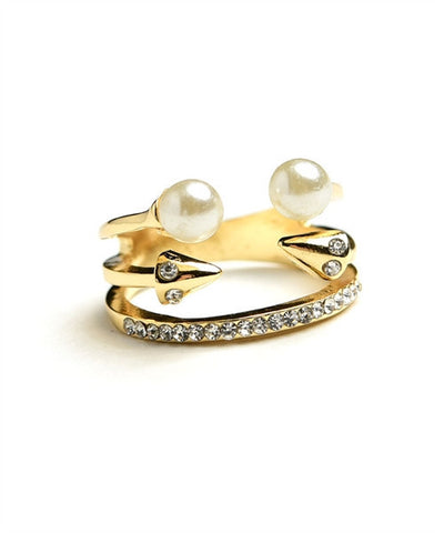 Multi Stone & Double Pearl Ring
