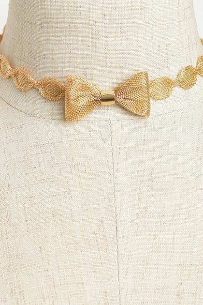 Bow Tie Choker - Gold - Amor Black Boutique