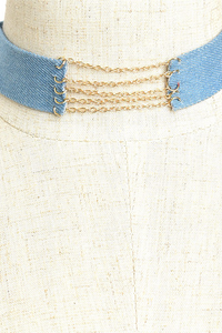 Denim Multi-Chain Choker - Choker