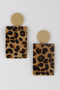 Brown Rectangle Animal Print Earring | Shop Amor Black Boutique